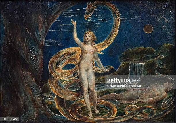 Painting titled 'Eve Tempted by the Serpent' by William Blake an English poet painter and printmaker Dated 18th Century