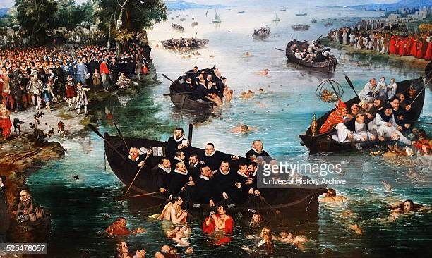 Painting titled 'Fishing for Souls' Painted by Adriaen Pietersz van de Venne Dutch Golden Age painter Dated 17th Century