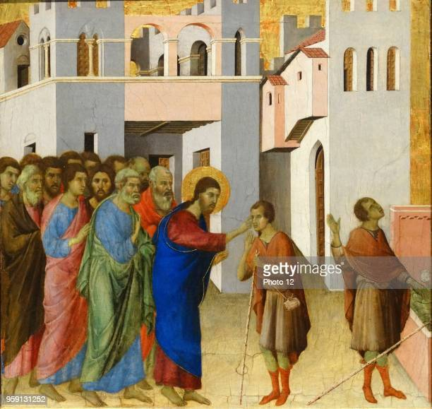 Painting titled 'Jesus opens the Eyes of a Man Born Blind' by Duccio di Buoninsegna an Italian painter and member of the Sienese School Dated 14th...