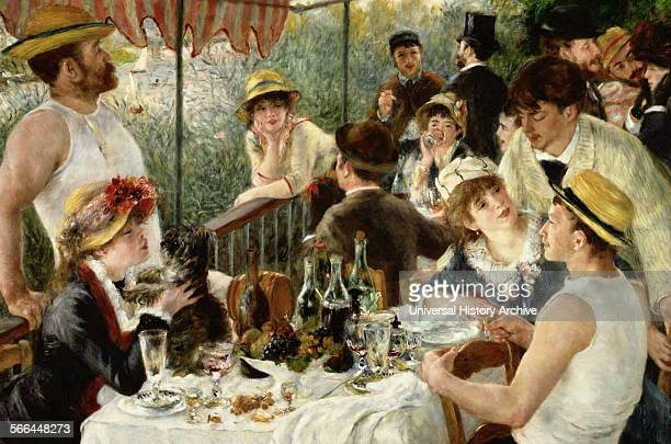 Painting titled 'Le dejeuner des canotiers' the Luncheon of the Boating Party Painting by PierreAuguste Renoir French impressionist Dated 1881
