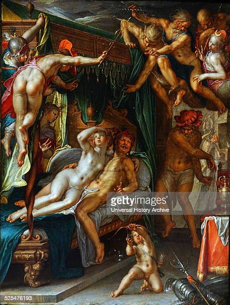 Painting titled 'Mars and Venus Surprised by Vulcan' Painted by Joachim Anthonisz Wtewael Dated 17th Century