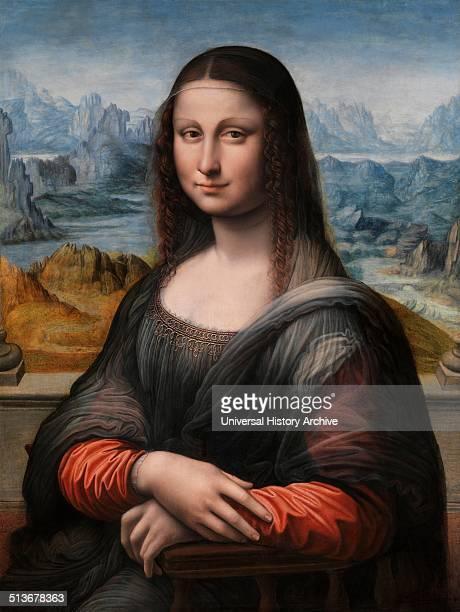 Painting titled Mona Lisa by Leonardo da Vinci Italian Renaissance polymath painter sculptor architect musician mathematician engineer inventor...