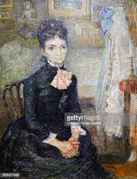 Painting titled 'Mother by a Cradle' a portrait of Leonie Rose DavyCharbuy Painted by Vincent van Gogh Dutch PostImpressionist painter Dated 1887