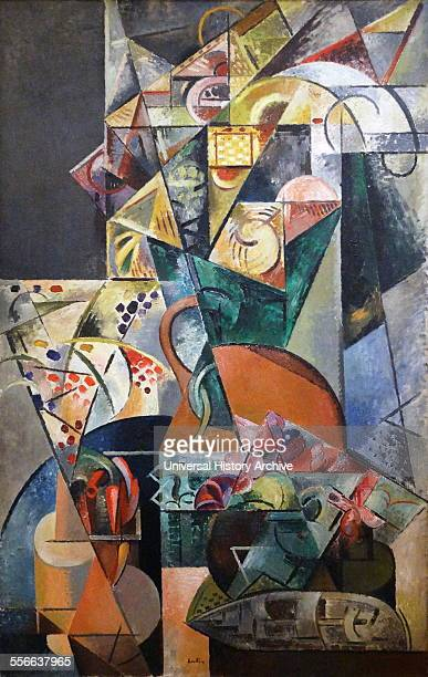 Painting titled 'Nature Morte' by Auguste Herbin French painter of modern art Dated 1913