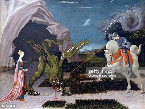 Painting titled 'Saint George and the Dragon' by Paolo Uccello an Italian painter and a mathematician Dated 15th Century