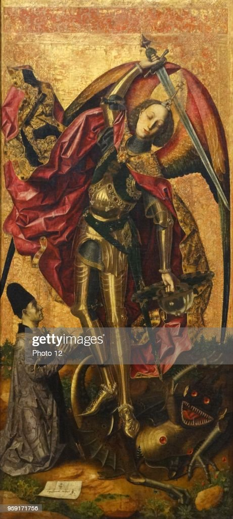 painting titled saint michael triumphs over the devil by bartolome