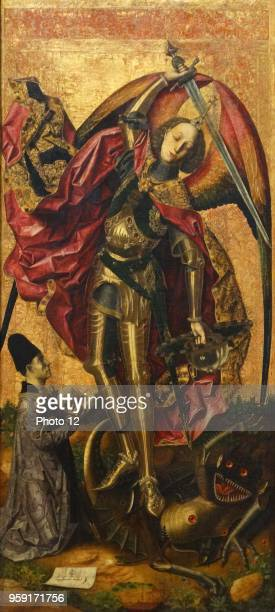 Painting titled 'Saint Michael Triumphs over the Devil' by Bartolome Bermejo a Spanish painter who adopted Flemish painting techniques and...