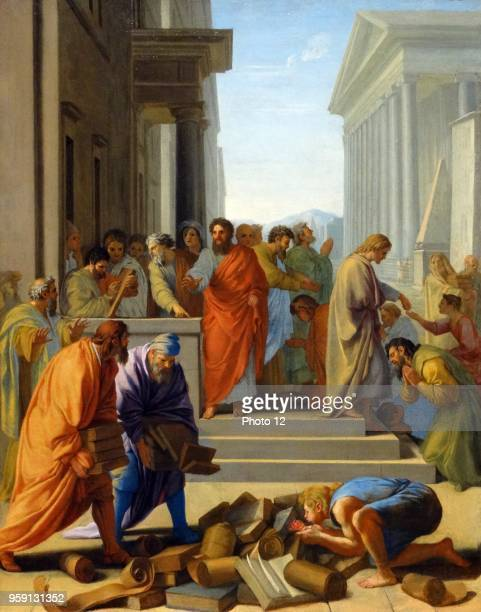 Painting titled 'Saint Paul Preaching at Ephesus' by Eustache Le Sueur a founding member of the French Academy of Painting Dated 17th Century