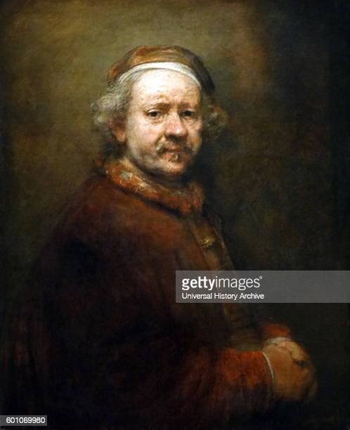 Painting titled 'Self Portrait at Age of 63' by Rembrandt Harmenszoon van Rijn a Dutch painter and etcher Dated 17th Century
