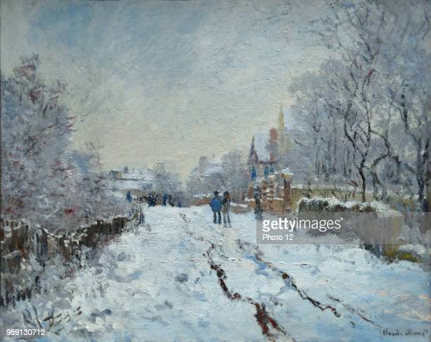 Painting titled 'Snow scene at Argenteuil' by Claude Monet founder of French Impressionist painting Dated 1875