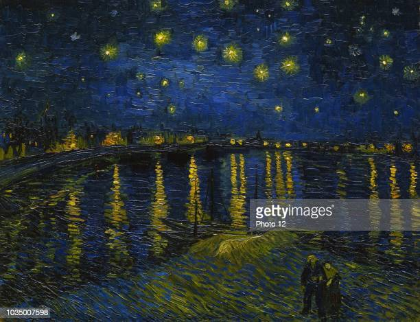 Painting titled 'Starry Night over the Rhone' by Vincent van Gogh Dutch painter Dated 1888