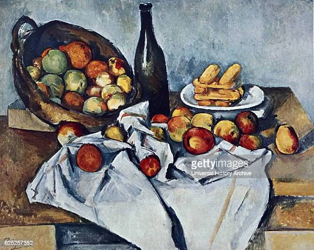 Painting titled 'Still Life with Basket of Apples' by Paul Cezanne a French artist and postimpressionist painter Dated 19th Century
