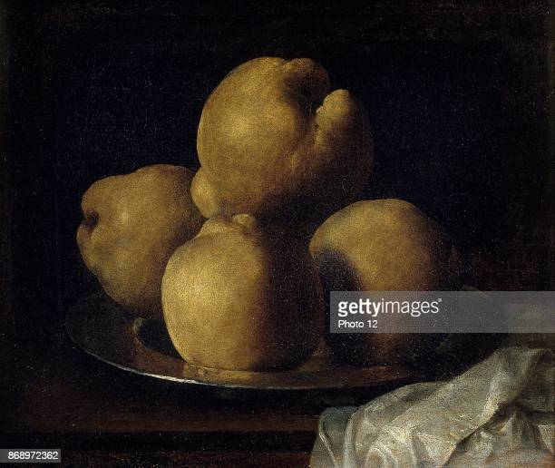 Painting titled 'Still life with Dish of Quince' by Francisco de Zurbaran Spanish painter known for his religious paintings Dated 17th Century