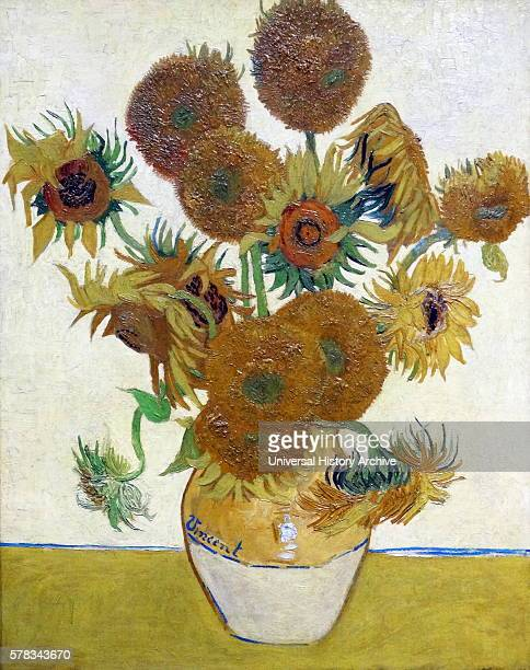 Painting titled 'Sunflowers' by Vincent Willem van Gogh a Dutch postImpressionist painter Dated 19th Century