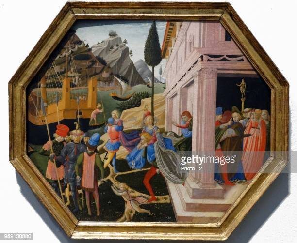 Painting titled 'The Abduction of Helen' by Zanobi Strozzi an Italian painter and manuscript illuminator Dated 15th Century