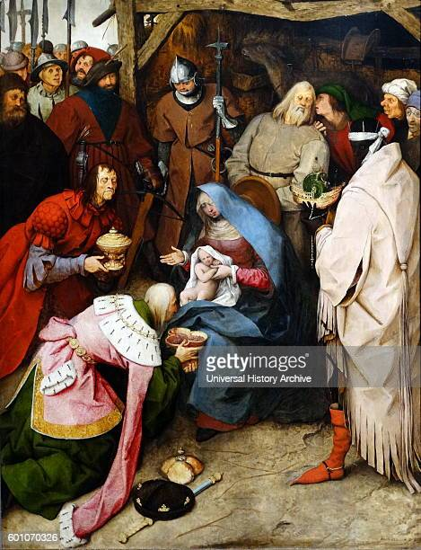 Painting titled 'The Adoration of the Kings' by Pieter Bruegel the Elder a Netherlandish Renaissance painter and printmaker from Brabant Dated 16th...