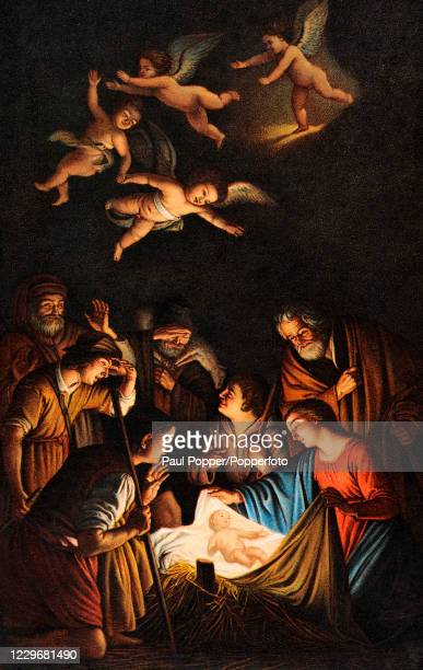 Painting titled The Adoration of the Shepherds by the Dutch artist Gerard van Honhorst, exhibited in Florence, one of a series of Oilette postcards...