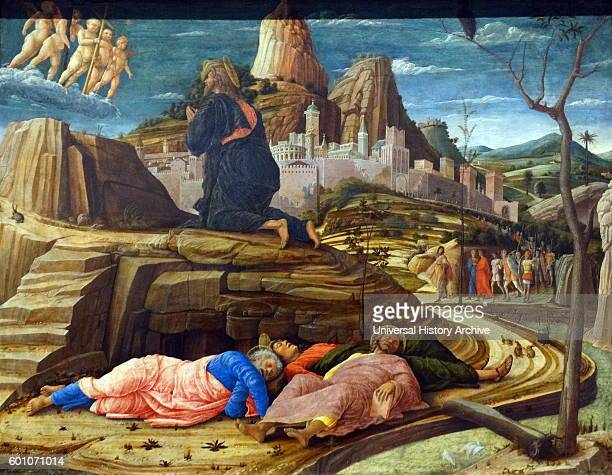 Painting titled 'The Agony in the Garden' by Andrea Mantegna an Italian painter and student of Roman archaeology Dated 15th Century