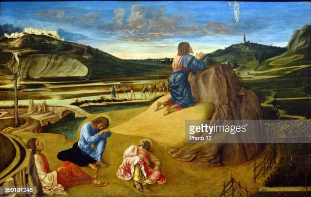 Painting titled 'The Agony in the Garden' by Giovanni Bellini an Italian Renaissance painter Dated 16th Century