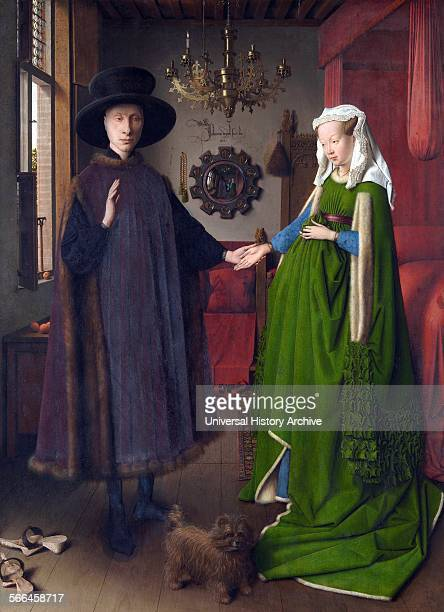 Painting titled 'The Arnolfini Portrait' painted by Jan van Eyck Netherlandish painter The painting is also known as 'The Arnolfini Wedding' Dated...