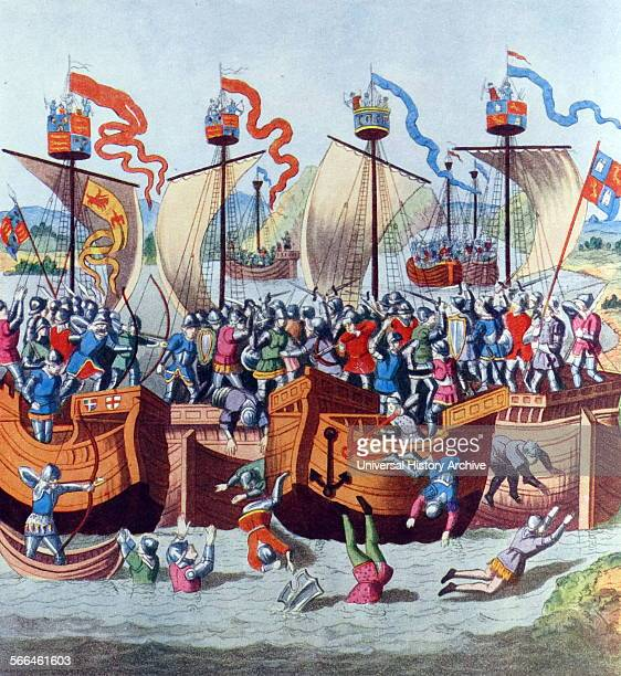 Painting titled 'The Battle off La Rochelle' depicts a battle between ships Coloured aquatint by J Harris in 1804 Original dated 1372