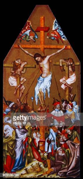 Painting titled 'The Crucifixion' by Bohemian Master Dated 14th Century