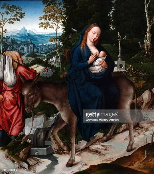 Painting titled 'The Flight into Egypt' by Goswin van der Weyden a Flemish Renaissance painter. Dated 16th Century.
