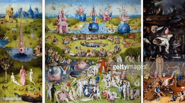 Painting titled 'The Garden of Earthly Delights' the modern title given to a triptych painted by the Early Netherlandish master Hieronymus Bosch...