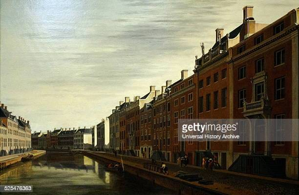 Painting titled 'The 'Golden Bend' in the Herengracht' Amsterdam Painted Gerrit Adriaensz Berckheyde Dated 17th Century
