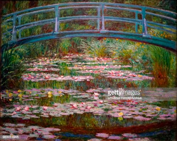 Painting titled 'The Japanese Footbridge' by Claude Monet a French Impressionist painter Dated 19th Century