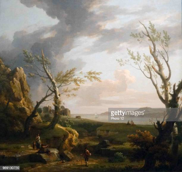 Painting titled 'The Mouth of an Estuary' by George Lambert English landscape artist and theatre scene painter Dated 18th Century