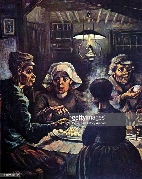 Painting titled 'The Potato Eaters' by Vincent Van Gogh a Dutch PostImpressionist painter Dated 19th Century