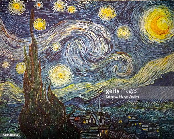 Painting titled 'The Starry Night' by Vincent Willem van Gogh a Dutch postImpressionist painter Dated 19th Century