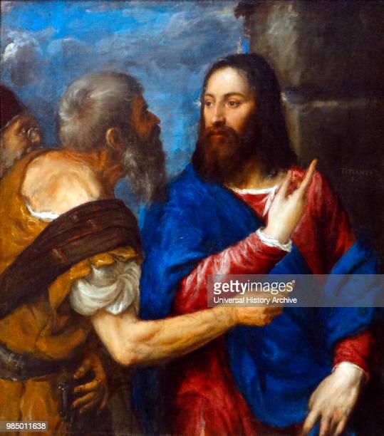 Painting titled 'The Tribute Money' by Titian an Italian painter and member of the Venetian School. Dated 16th Century.