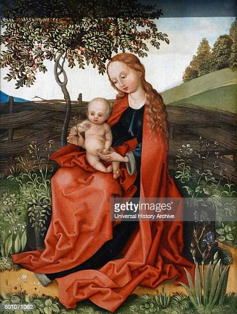 Painting titled 'The Virgin and Child in the Garden' in the style of Martin Schongauer a German engraver and painter Dated 15th Century
