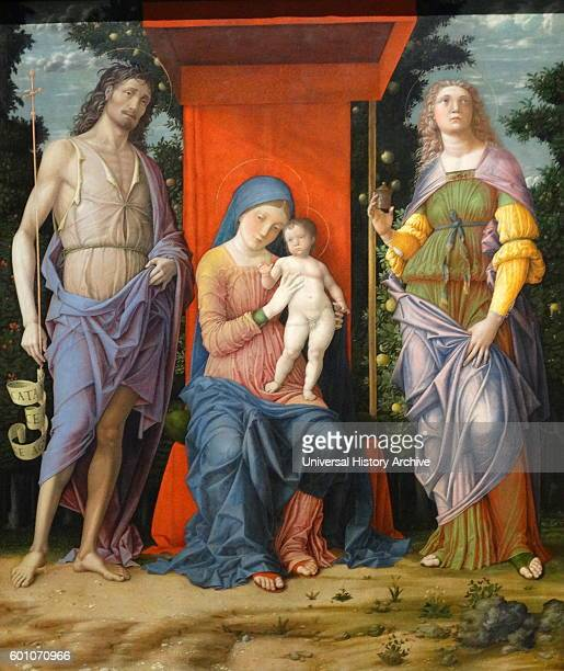 Painting titled 'The Virgin and Child with Magdalen and Saint John the Baptist' by Andrea Mantegna an Italian painter and student of Roman...
