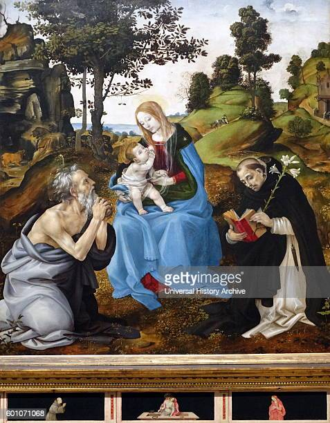 Painting titled The Virgin and Child with Saints Jerome and Dominic' by Filippino Lippi an Italian painter during the High Renaissance in Florence...
