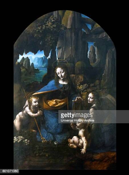Painting titled 'The Virgin on the Rocks' by Leonardo da Vinci an Italian polymath inventor painter sculptor architect engineer and scientist Dated...