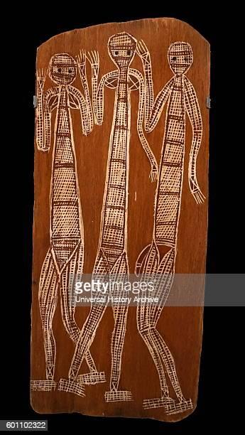 Painting titled 'Three Mimi' by Jimmy Midjaw Midjaw an Aboriginal Australian visual artist Dated 20th Century