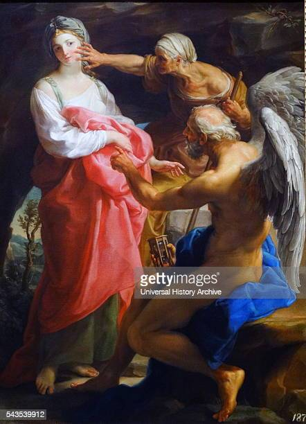 Painting titled 'Time orders Old Age to Destroy Beauty' by Pompeo Girolamo Batoni an Italian painter Dated 18th Century`