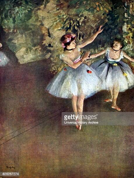 Painting titled 'Two Ballet Dancers on the Stage' by Edgar Degas a French artist and sculptor Dated 19th Century