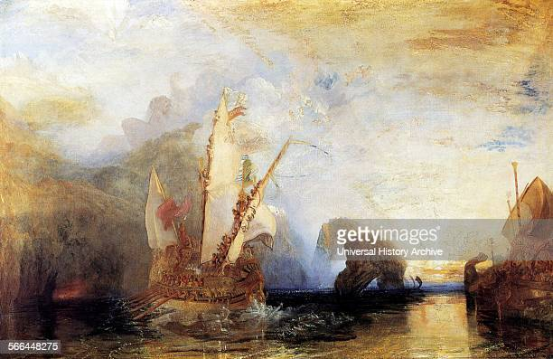 Painting titled 'Ulysses Deriding Polyphemus' Depicting a scene from Homer's Odyssey showing Odysseus standing on his ship deriding Polyphemus...