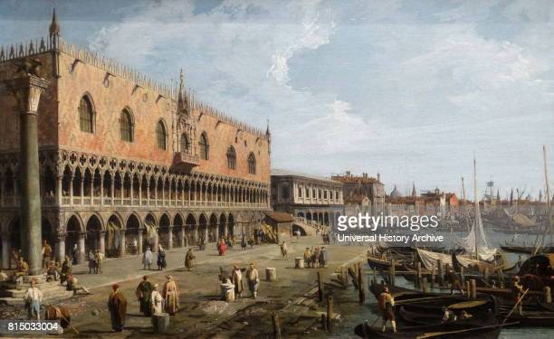 Painting titled 'Venice The Doge's Palace and the Riva degli Schiavoni' by Canaletto an Italian painter Dated 18th Century
