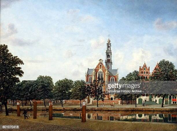 Painting titled 'View of the Westerkerk Amsterdam' by Jan van der Heyden a Dutch Baroqueera painter draughtsman printmaker a Mennonite and inventor...