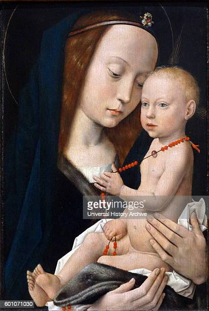 Painting titled 'Virgin and the Child' by a follower of Hugo van der Goes Dated 15th Century