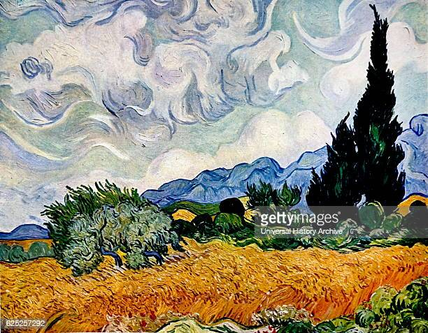 Painting titled 'Wheat Field with Cypresses' by Vincent van Gogh a Dutch painter and draftsman Dated 19th Century