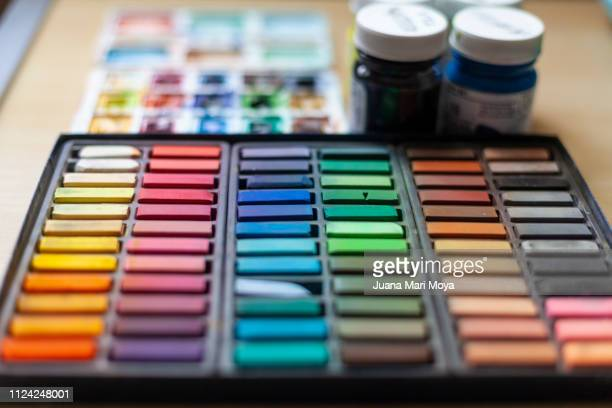 painting utensils.  pastel, watercolor and temperas - tempera painting stock pictures, royalty-free photos & images