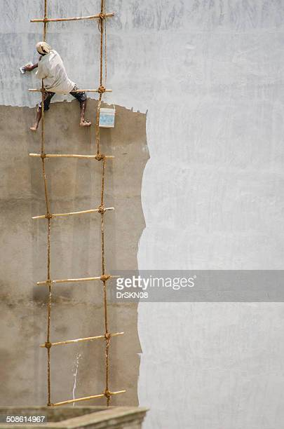 Painting wall hanging on rope
