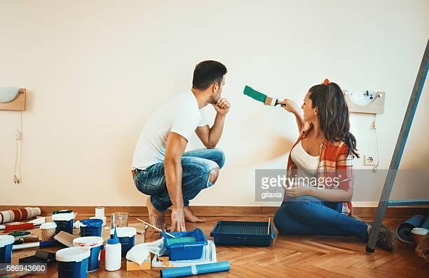 Painting walls.