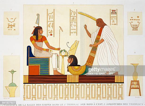 Painting with harpist and Pharaoh Hall of Harps TTomb 5 east to the Valley of the Kings West Thebes Plate 91 from Description of Egypt or the...